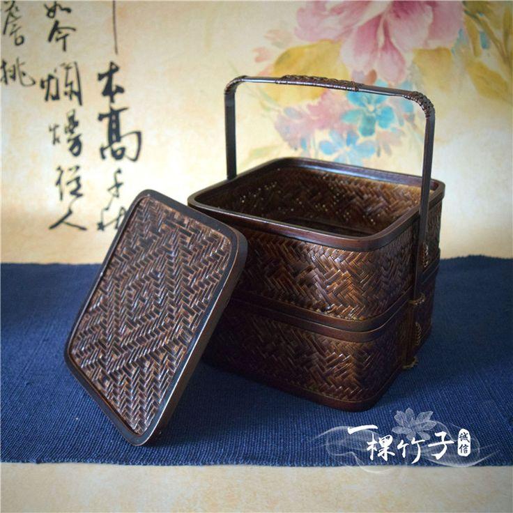 Старинные бамбук продовольственной корзины gongfu чайный инструмент коробка для хранения двойной слой с крышкой закуски коробка классический декоративные украшения-Таобао глобальной вокзала