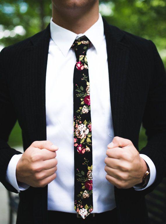 """Black Floral Skinny Tie 2"""" Inch Necktie Retro"""