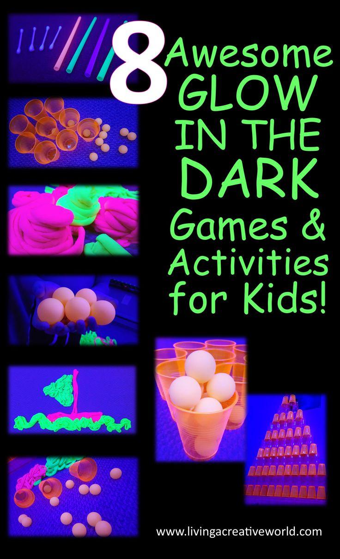 8 super fun, easy glow in the dark games & activities for kids and families! #glowinthedark #gamesforkids #partygames #kidsactivities