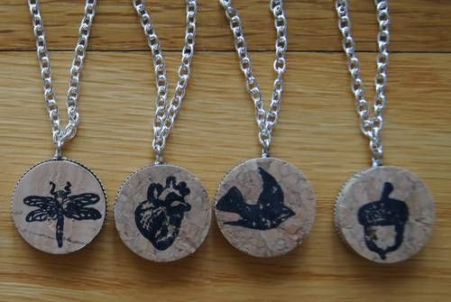 wine cork jewelry - you could stamp or draw design in middle, and clear coat varnish over for a finished look  :)