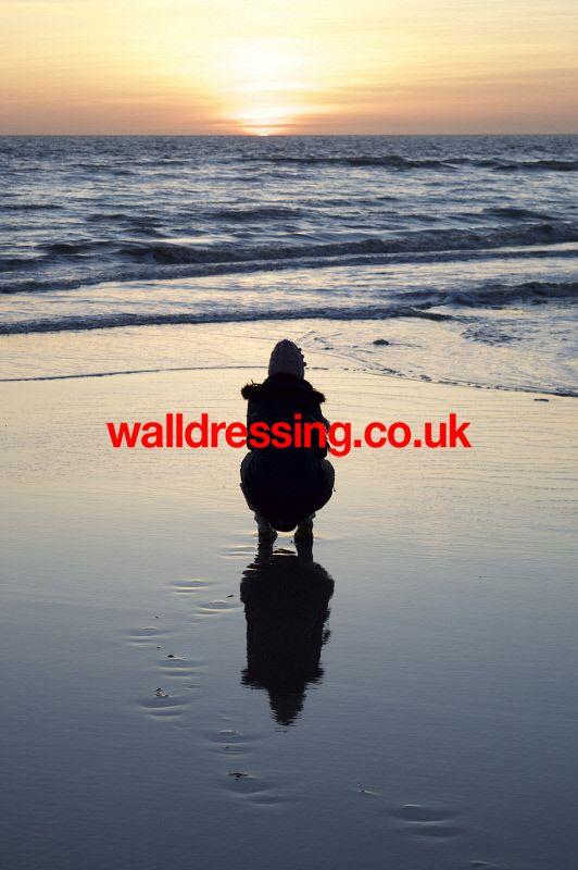 www.walldressing.co.uk clearance free, photography, reflection, sea, beach, panoramic, figure, sunset,
