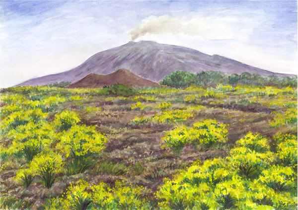 ETNA watercolor and pastel by Jana Haasová