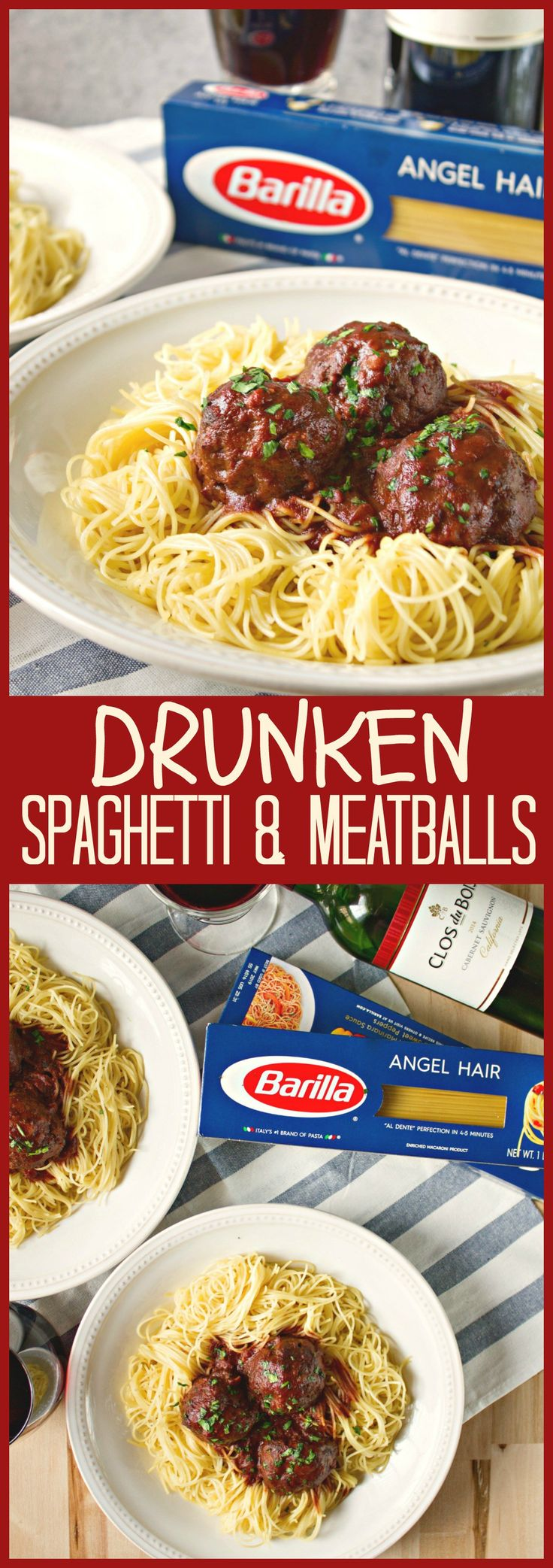A childhood favorite, with an adult twist. These meatballs are soaked in a rich, red wine gravy and pairs perfectly with Barilla Angel Hair pasta.