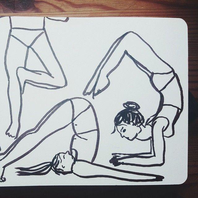 Sketchbook yoga poses by Jasmine Hortop