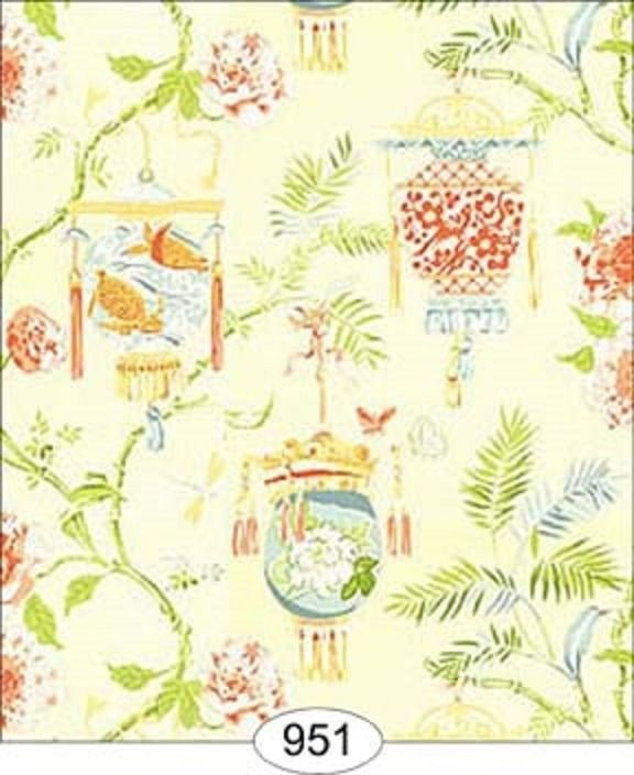 "Dollhouse Wallpaper "" Chinese Lanterns In Cream """