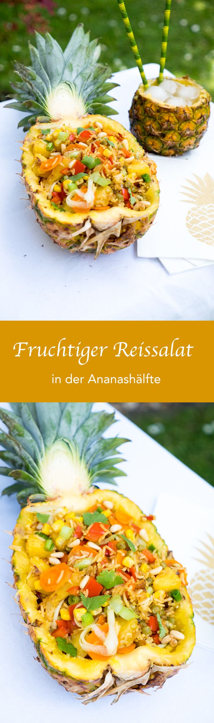 Fruchtiger Reissalat in der Ananas (Vegan Curry)