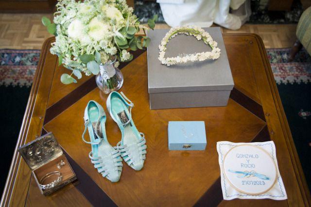 La novia de los zapatos turquesas, las bodas de Tatín. Zapatos Resán, foto Primer Vals