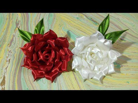 DIY Satin Ribbon rose - YouTube