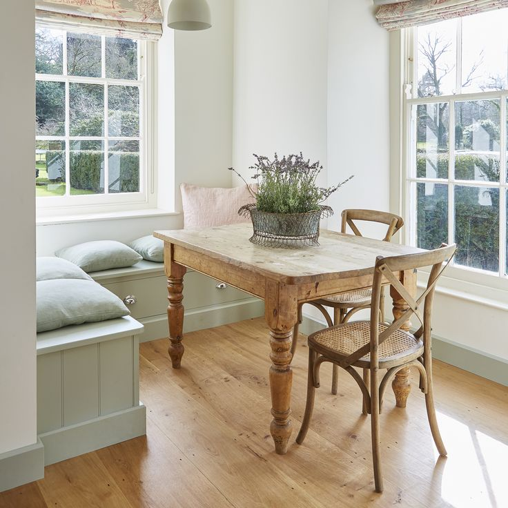 Beautiful window seat area with a view. Hand crafted with the added bones of drawer storage for those items you don't need every day. Hand painted in Farrow & Ball's Mizzle.