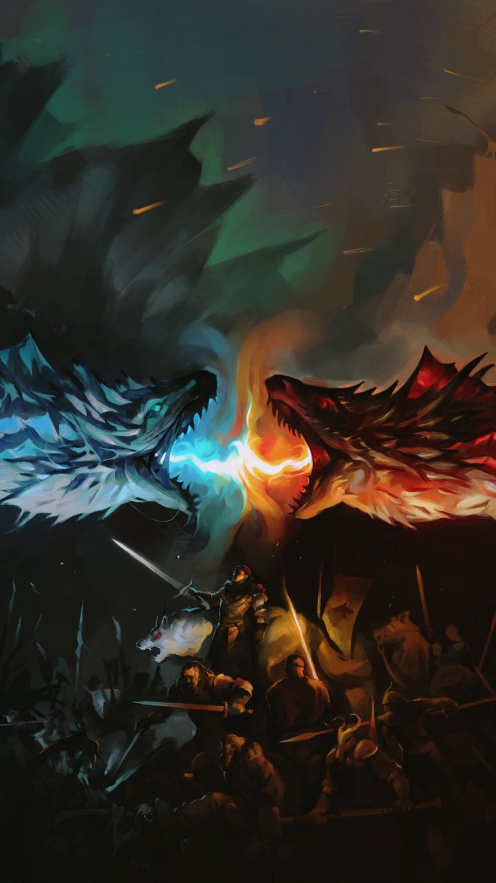 Game Of Thrones Tv Series Dragons Fight Fan Art 720x1280