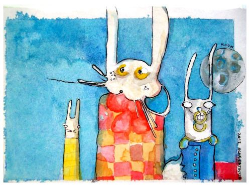 Happy three bunnies were having a tea party. It was a sunny day and the sky was so clear you could even see the moon…