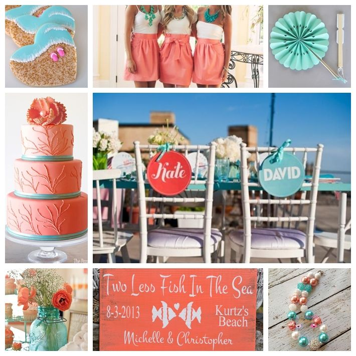 2 toned dresses and blue jars with babysbreath  Beach-y Wedding Inspiration in Aqua and Coral