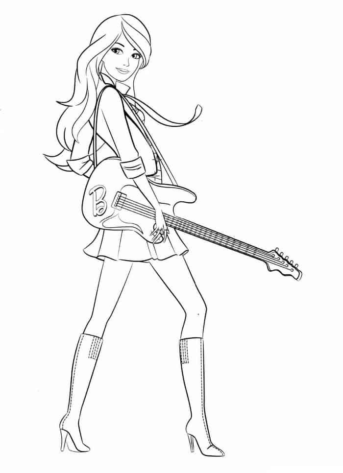 Barbie Rockstar Coloring Pages Trend