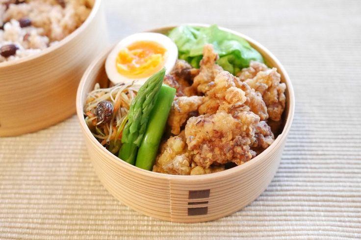 小豆玄米220g、地鶏唐揚、キャベツスープ通し、にぬき、春夏金平、アスパラ塩茹