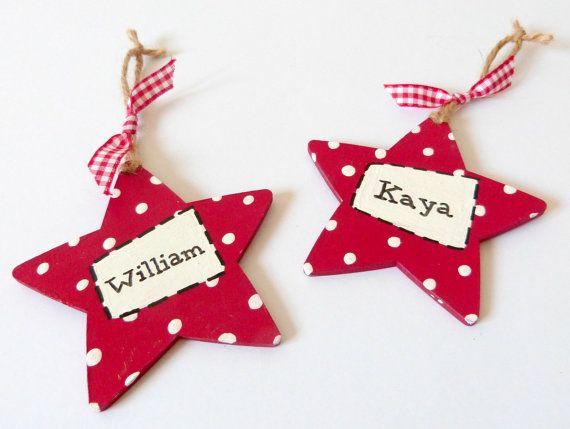 Personalised Wooden Star Hanging Keepsake Christmas Decoration