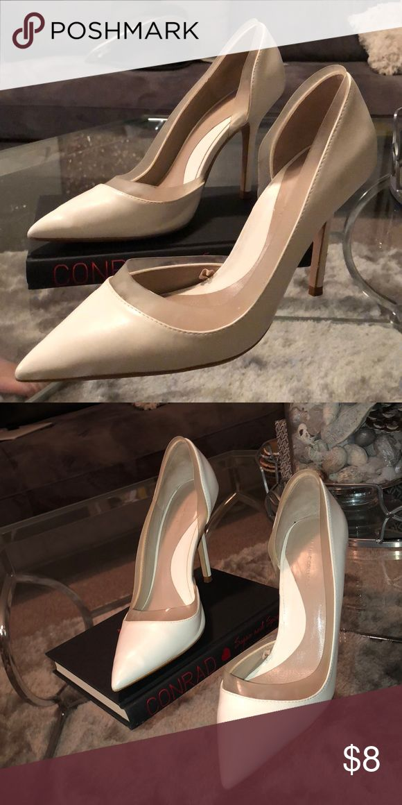 White court shoes White leather court shoes with medium heel and Perspex inserts Zara Shoes Heels