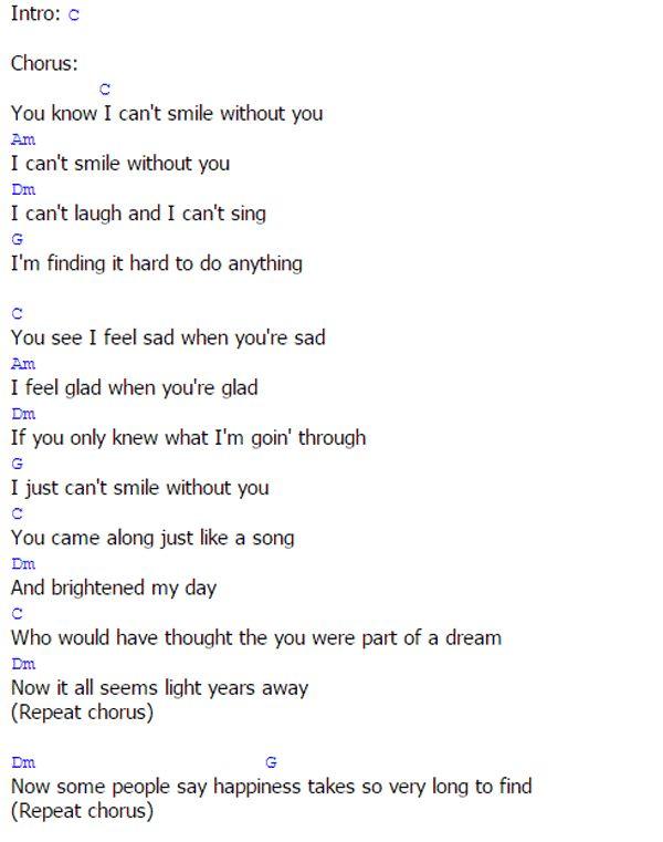 Barry Manilow – Can't Smile Without You Lyrics | Genius Lyrics