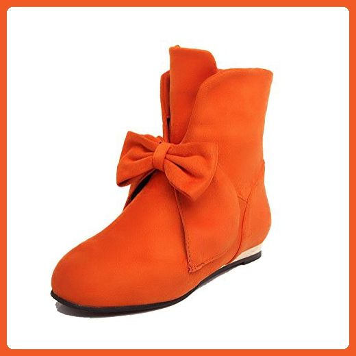 VogueZone009 Women's Low Top Pull-On Frosted Low Heels Round Closed Toe Boots, Orange, 40 - Boots for women (*Amazon Partner-Link)