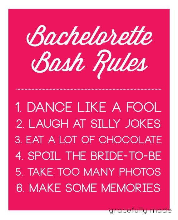 @Amanda SharbuttHot Pink Bachelorette Party Rules Sign. $5.00, via Etsy.