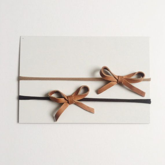 Wide Leather Bow Headband Leather Bow nylon by EverIrisDesigns