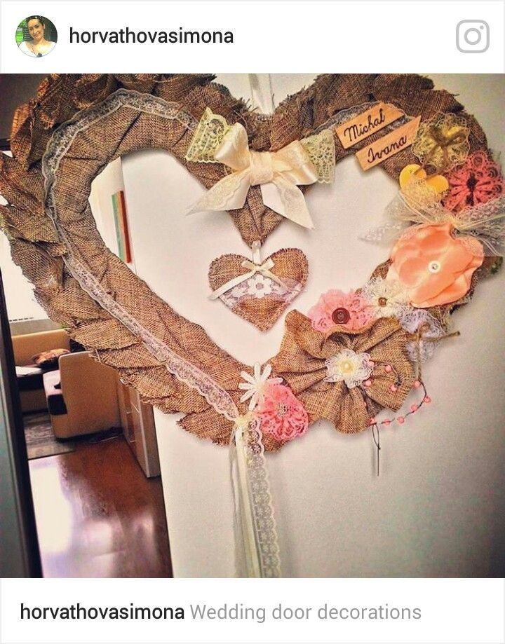Wedding door decoration, wedding heart, sewing heart, natural heart, brown, white. Svadobné srdce na dvere, srdce na dvere