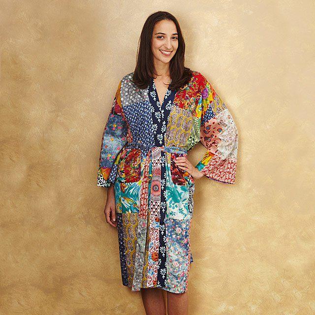 Upcycled Cotton Sari Robe - Melissa idea