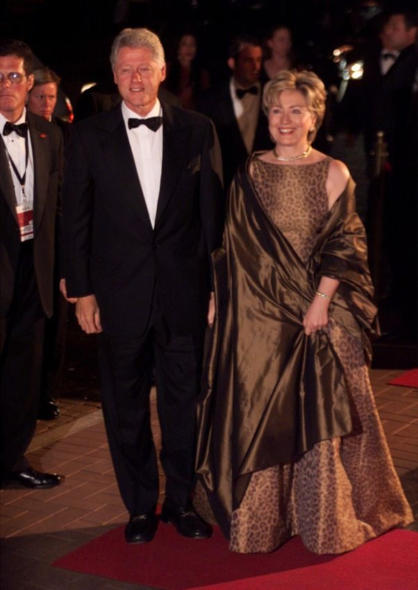 2003 - Hillary Clinton, wearing Oscar de la Renta, arrives for former South African President Nelson Mandela's 85th birthday party celebration in July 2003.
