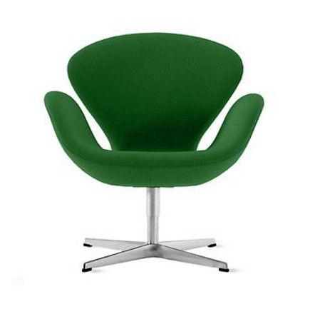 grass green Arne Jacobsen Swan chair from design within reach