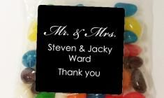 Mr & Mrs Script Coloured Jelly Beans Bomboniere - Personalised Favours - Set of 12