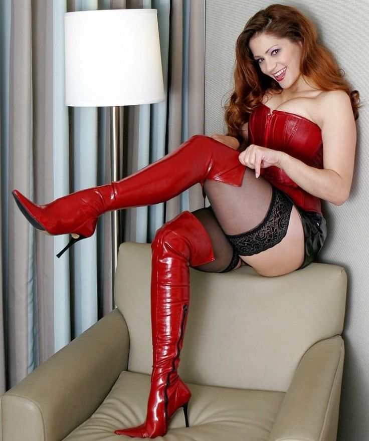 Chick Very Boots stockings redhead