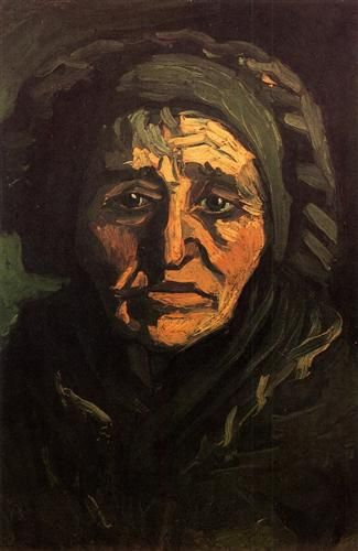 Head of a Peasant Woman with Greenish Lace Cap - Vincent van Gogh: