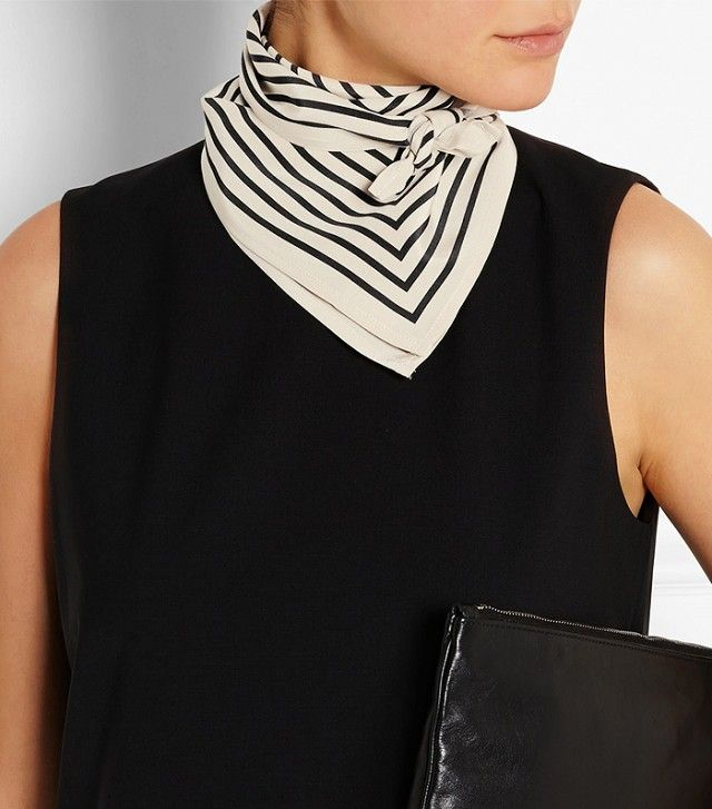 Totême Striped Silk-Faille Scarf ($200 ...loosen it up some tho, that is TOO TIGHT How All the Cool Girls Are Wearing Scarves This Summer via @WhoWhatWear