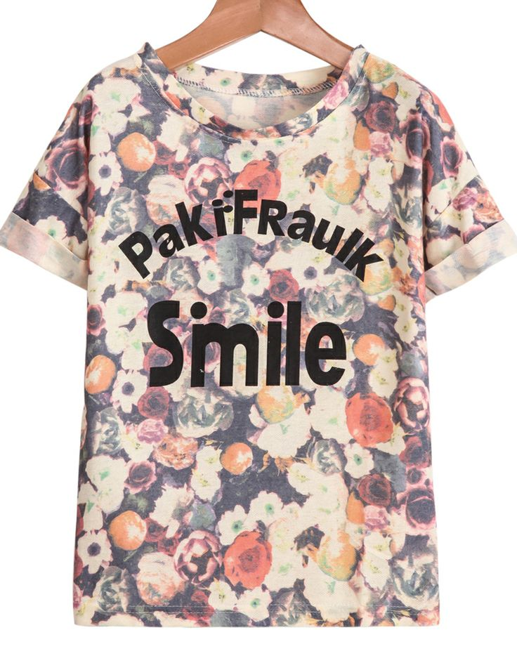 Orange Short Sleeve Floral Smile Print T-Shirt - Sheinside.com