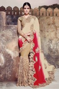 Net and Satin Designer Party Wear Saree In Cream and Red Colour