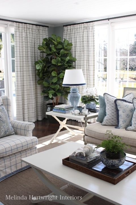Blue And White Living Room, Barclay Butera Fabric, Potted Fig   Melinda  Hartwright Interiors