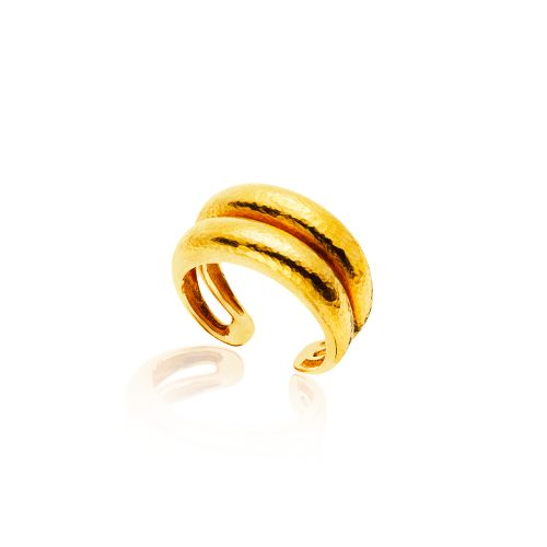 Classics ring in 22KT yellow hammered gold.