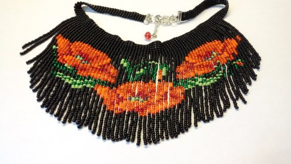bead necklace red poppies necklace beadwork necklace by UMEUM
