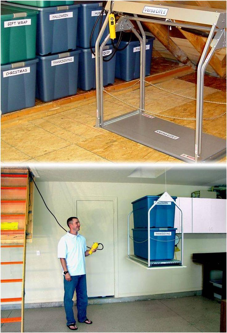 Best 25 attic lift ideas on pinterest garage lift for Garage attic lift elevator