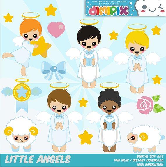 Angeles (niño), Bautizo, Primera Comunión / Clipart Set / Party Kit printable / imagenes digitales descarga instantanea