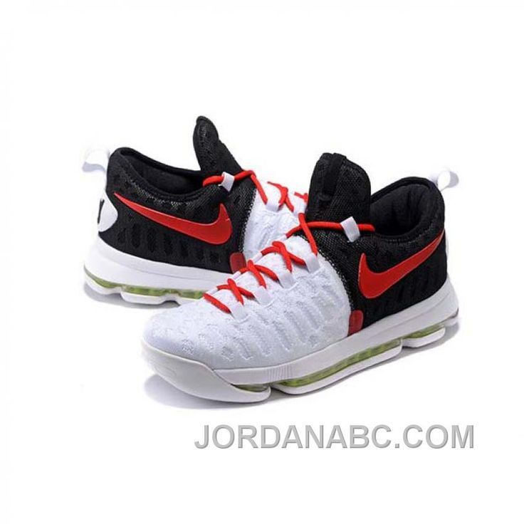 Kevin Durant KD 9 White/Black/Red Basketball Shoes Lastest