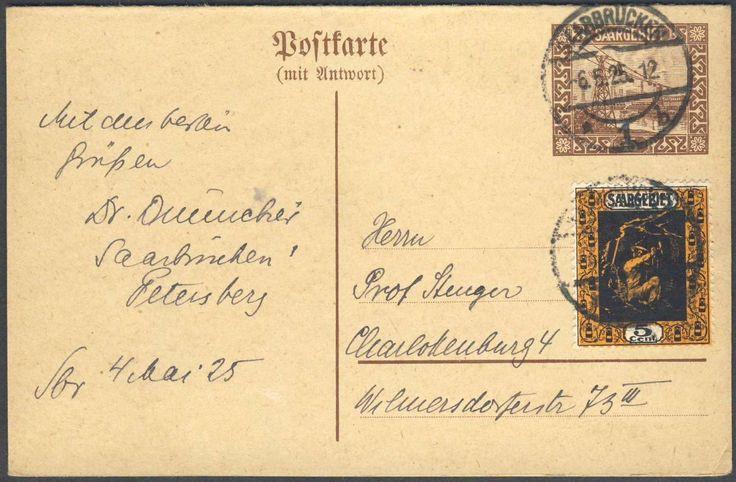 Germany, Saar, Saargebiet 1921, 15 Cent-GA-Doppelkarte, mit Beifrankatur (5 Cent), von Saarbrücken nach Charlottenburg gelaufen (Mi.-Nr.P 17 I). Price Estimate (8/2016): 15 EUR.