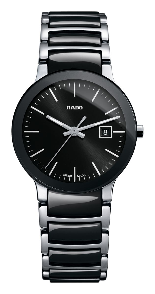 RADO Centrix, black high-tech ceramic & st.steel watch. Made in Switzerland. R30935162. Authorized Rado Dealer. Free CDN shipping