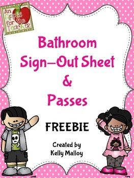 Help manage those trips to the bathroom by printing out these free  bathroom sign out sheets. Grab a clipboard, attach the printable to it, and hang the clipboard near your door. Have students sign in and out when they go to the bathroom. If bathroom shenanigans do arise, you can refer back to the sign-out sheet to see who was out in the hallway at that time.To see how I have used this item in my classroom, check out this blog…