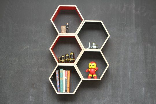 Get The Buzz With Bee Decor from these Floating Honeycomb shelves from Handmade Riot