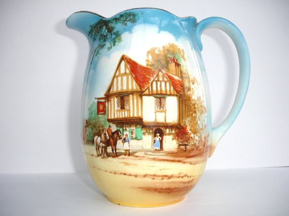 1930s Thomas Lawrence Falcon Ware Vintage Jug Vintage Water Pitcher Cottage Scene Bristol No 1 Made in England Blue and Brown Tableware
