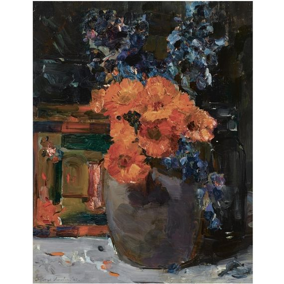 Floris Verster - A still life with marigold and delphinium in a bowl; Medium: oil on canvas