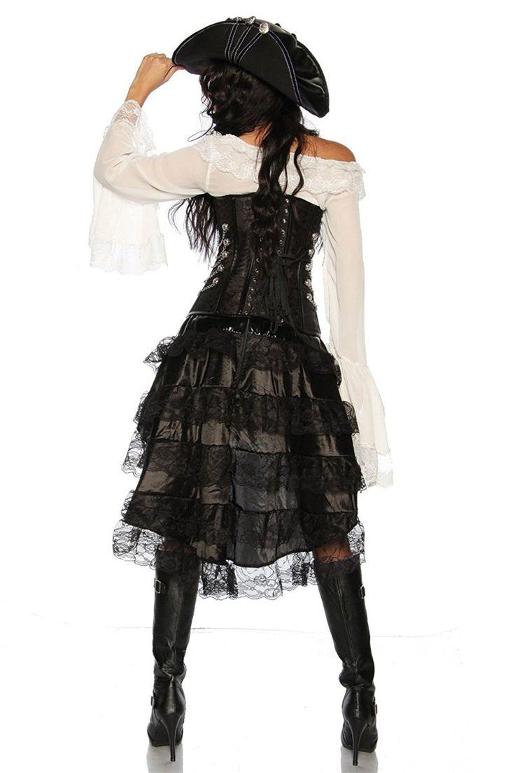Komplett-Kostüm Steampunk-Corsage Piraten Piratin Kleid ...