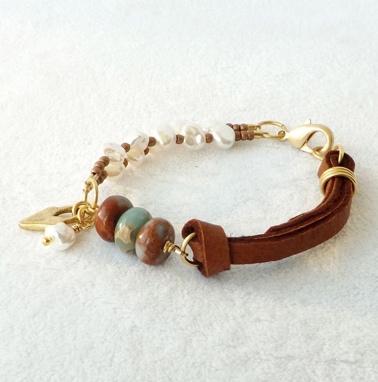 Leather Pearl Bracelet, Sundance Style, Southwestern Jewelry, Boho Jewelry, Stacking, Aqua Gemstone and Gold, Freshwater Pearl, Gift for Her by connectionsbymaya on Etsy https://www.etsy.com/listing/253237496/leather-pearl-bracelet-sundance-style