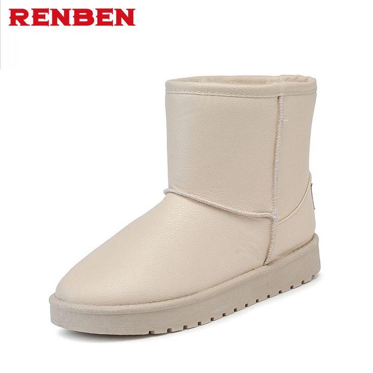 Snow Boots Women Winter pu Leather Mid Calf Boots Warm Australia Botas Nieve Sheepskin Classi #Affiliate