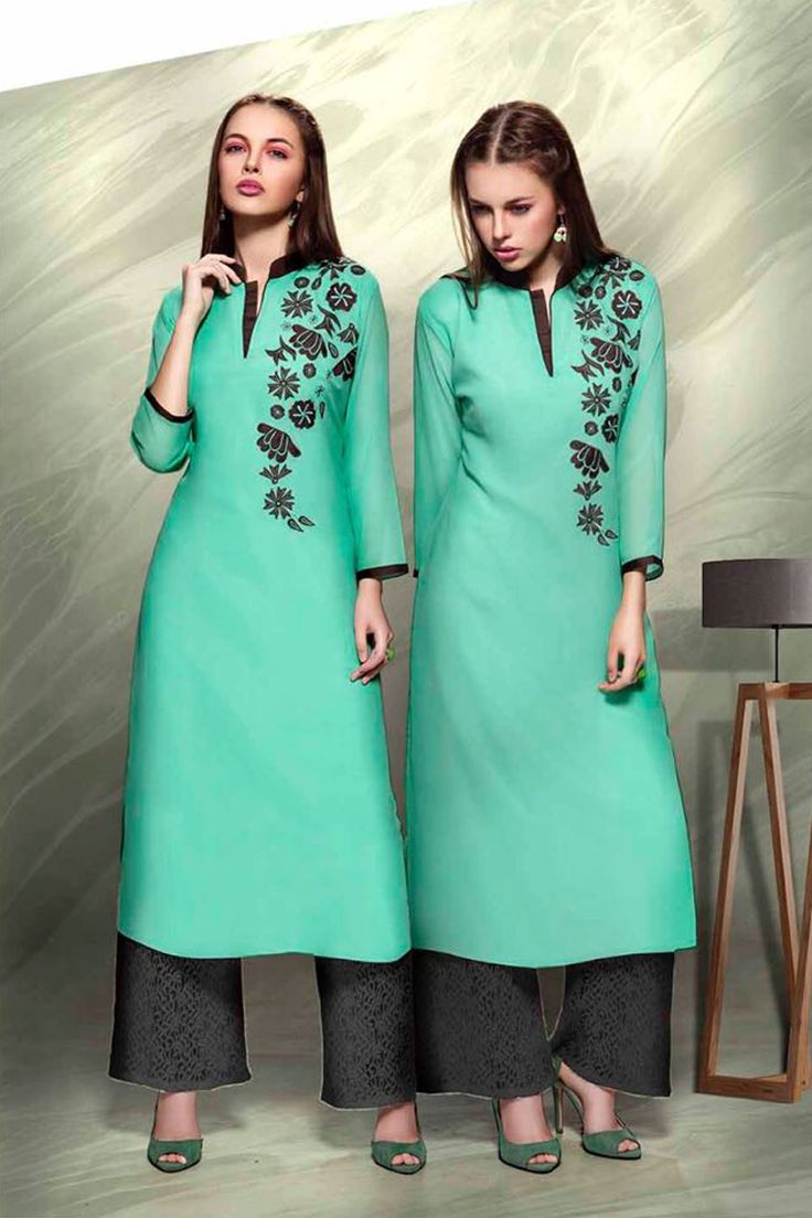Designer Real Georgette Rama Green Kurtis For Office Wear Or Casual Wear With Embroidary Work.......